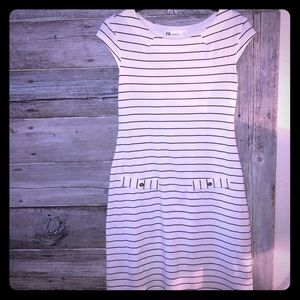 Fig Women's White & black Striped Dress size Small